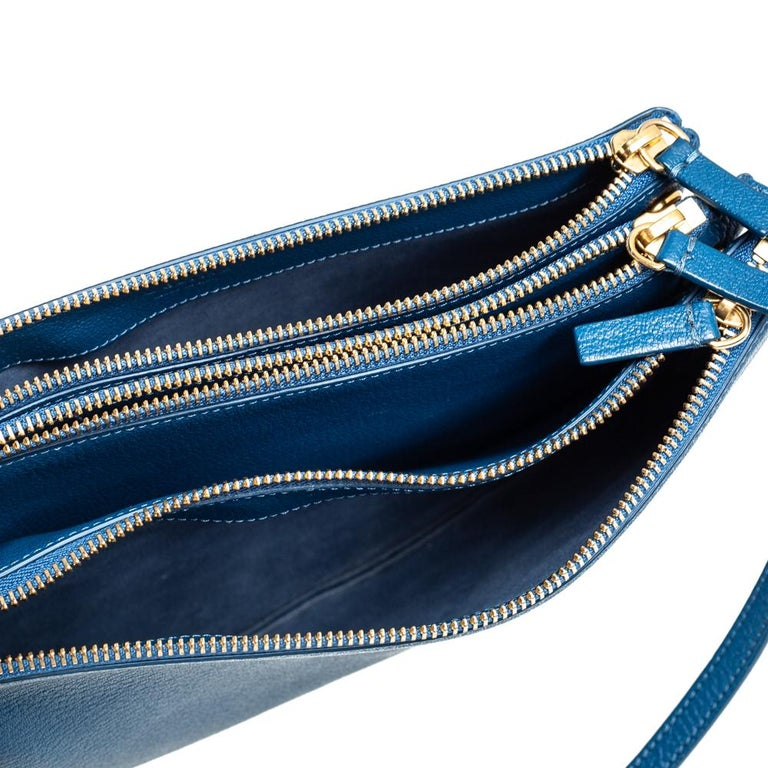 Céline Blue Leather Large Trio Crossbody Bag For Sale 3