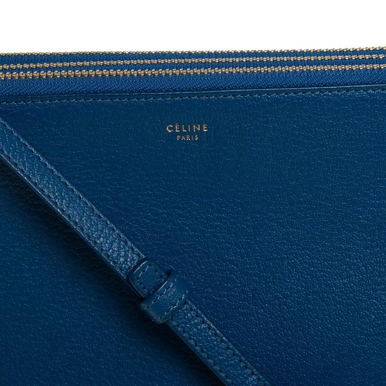 Céline Blue Leather Large Trio Crossbody Bag For Sale 5