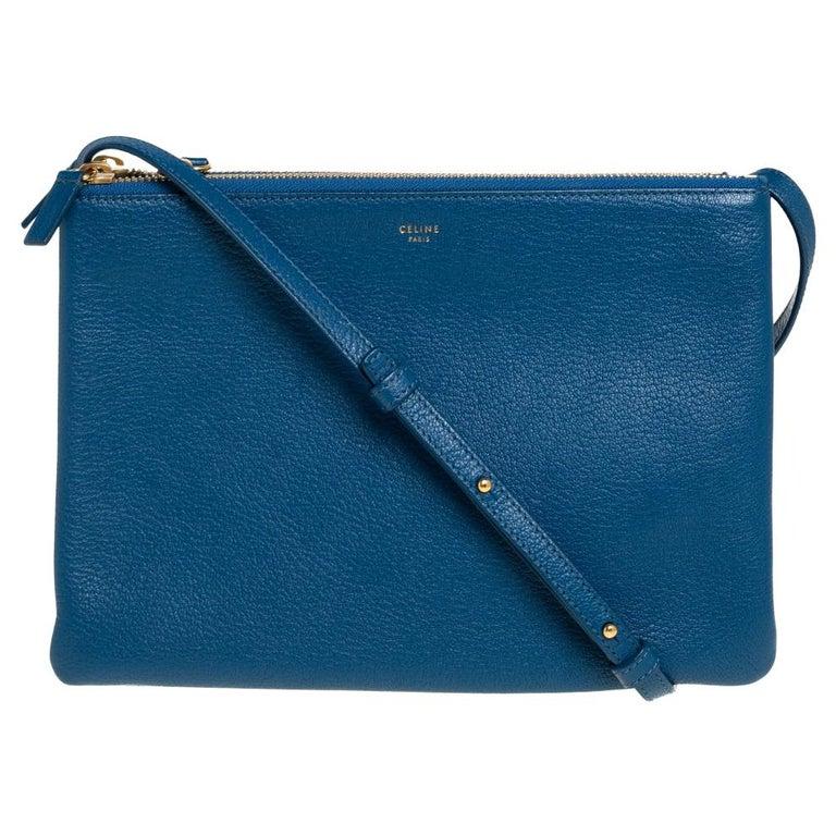 Céline Blue Leather Large Trio Crossbody Bag For Sale