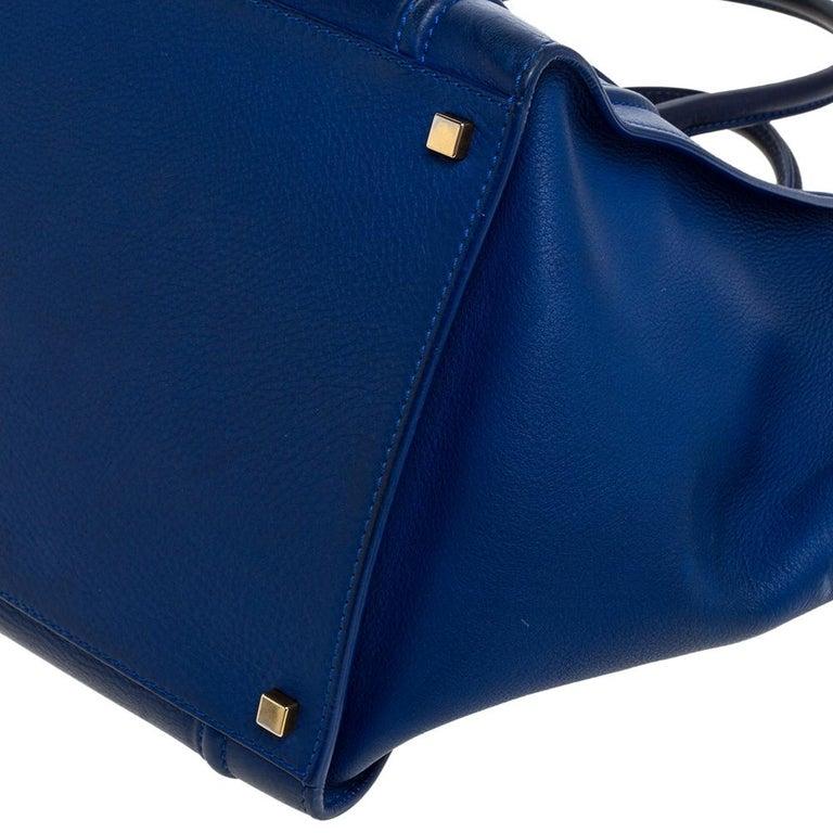 Celine Blue Leather Medium Phantom Luggage Tote For Sale 6