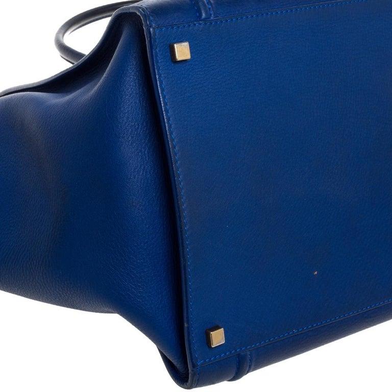 Celine Blue Leather Medium Phantom Luggage Tote For Sale 7