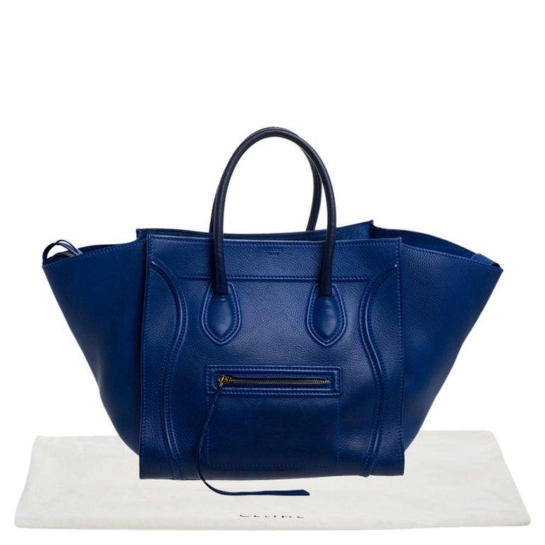 Celine Blue Leather Medium Phantom Luggage Tote For Sale 8