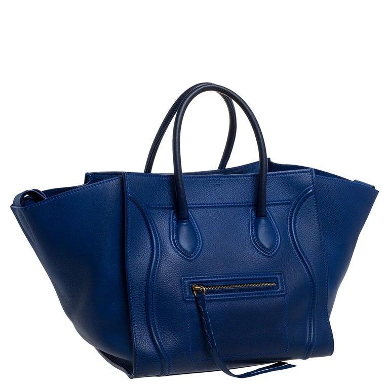 Women's Celine Blue Leather Medium Phantom Luggage Tote For Sale