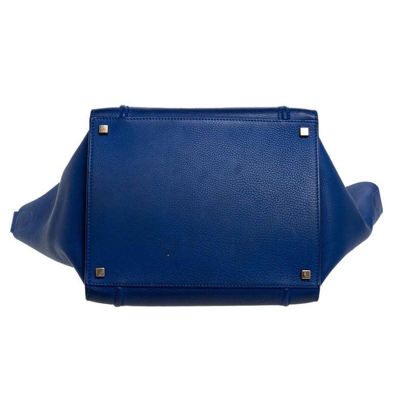 Celine Blue Leather Medium Phantom Luggage Tote For Sale 1