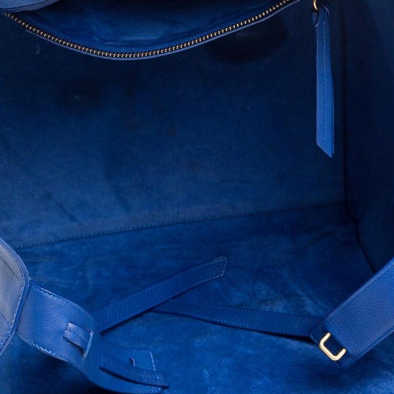 Celine Blue Leather Medium Phantom Luggage Tote For Sale 2