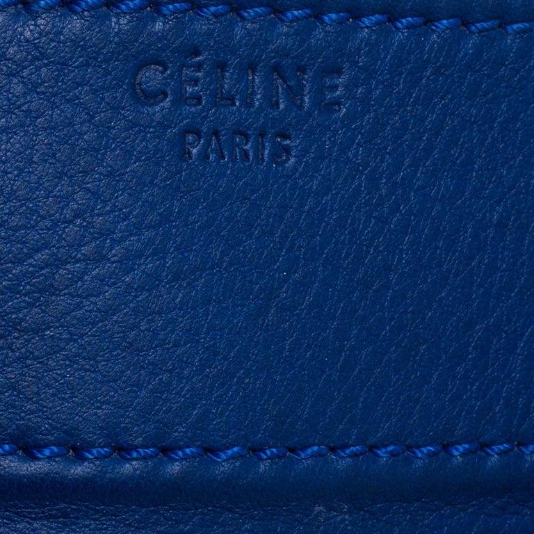 Celine Blue Leather Medium Phantom Luggage Tote For Sale 3