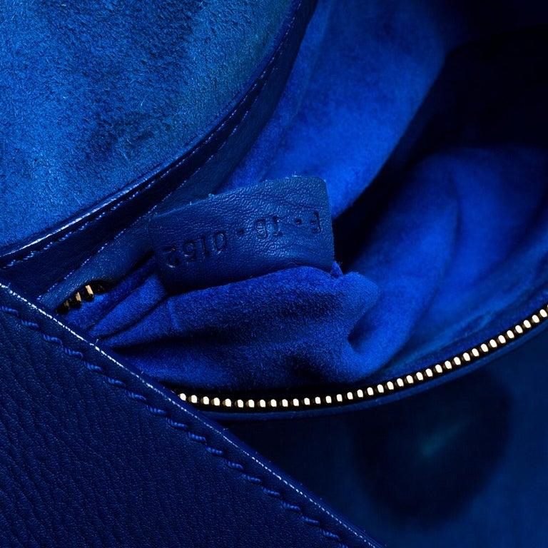 Celine Blue Leather Medium Phantom Luggage Tote For Sale 4