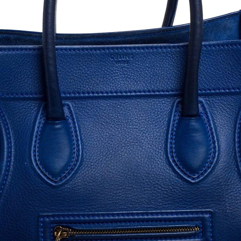 Celine Blue Leather Medium Phantom Luggage Tote For Sale 5