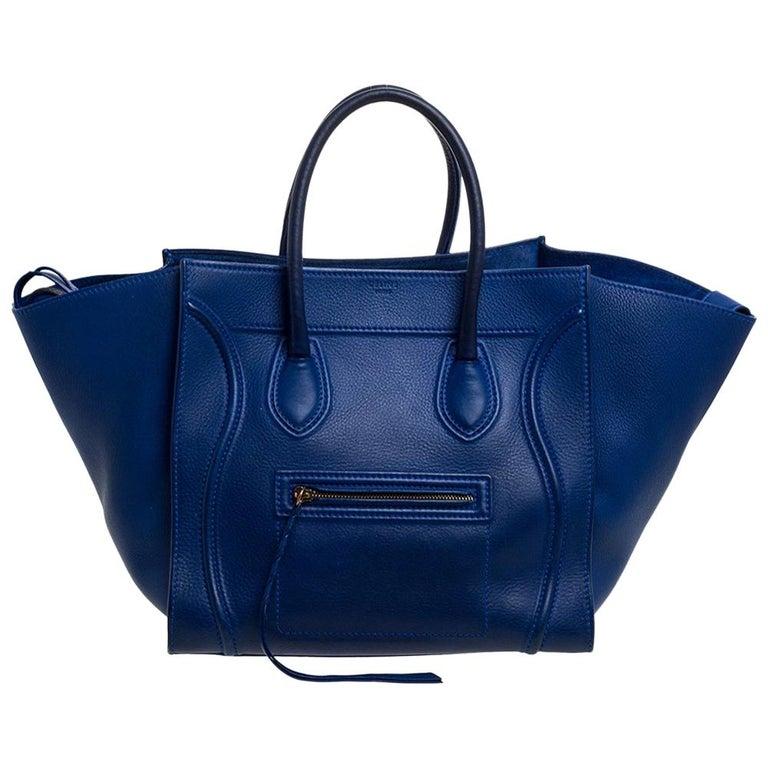 Celine Blue Leather Medium Phantom Luggage Tote For Sale