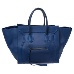 Celine Blue Leather Medium Phantom Luggage Tote