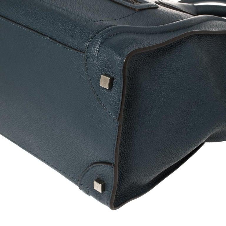 Céline Blue Leather Mini Luggage Tote For Sale 5