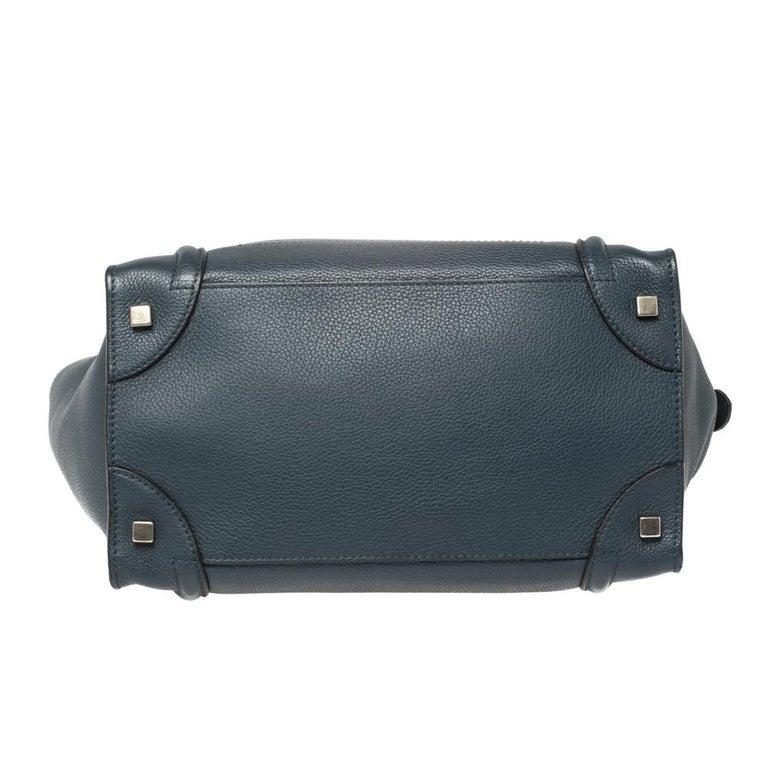 Céline Blue Leather Mini Luggage Tote For Sale 6
