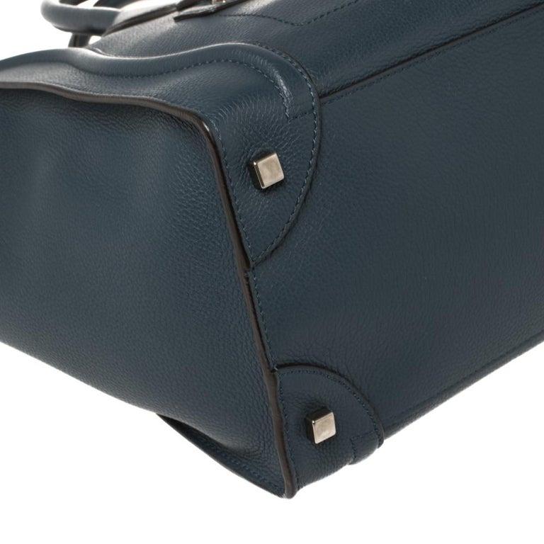 Céline Blue Leather Mini Luggage Tote For Sale 7
