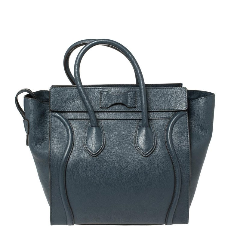 Black Céline Blue Leather Mini Luggage Tote For Sale
