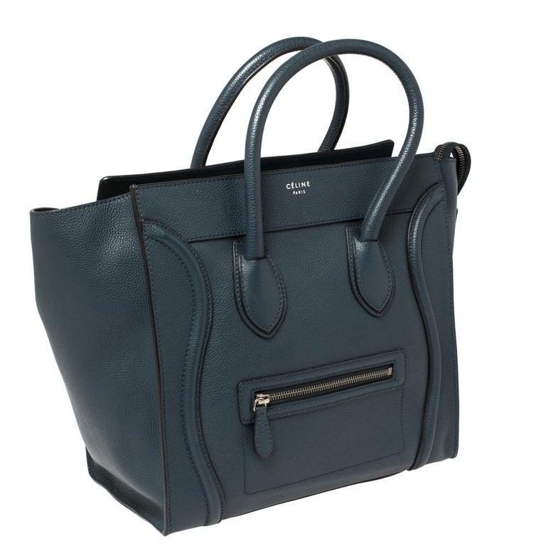 Céline Blue Leather Mini Luggage Tote In Good Condition For Sale In Dubai, Al Qouz 2