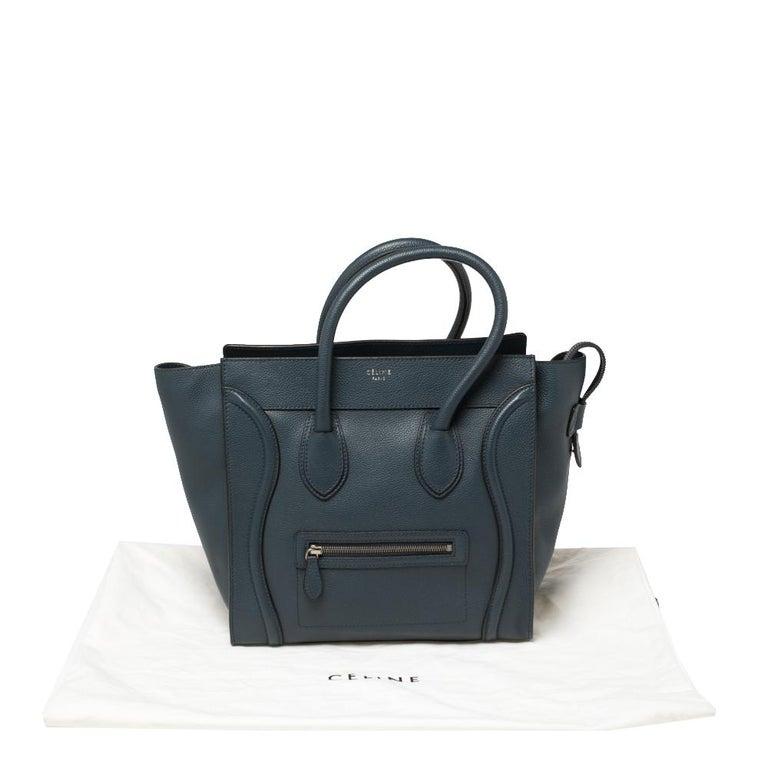 Women's Céline Blue Leather Mini Luggage Tote For Sale