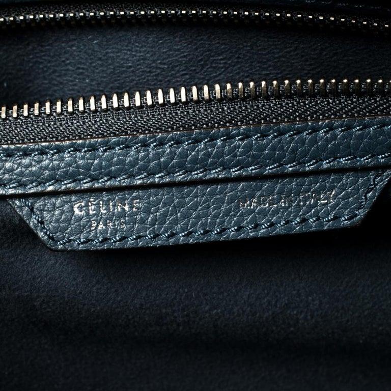 Céline Blue Leather Mini Luggage Tote For Sale 2
