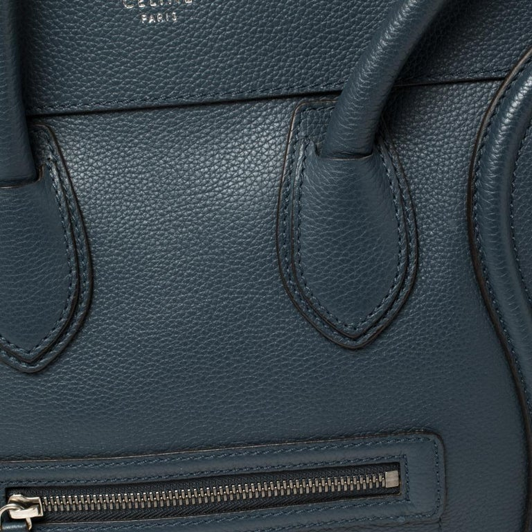 Céline Blue Leather Mini Luggage Tote For Sale 4