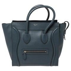 Céline Blue Leather Mini Luggage Tote