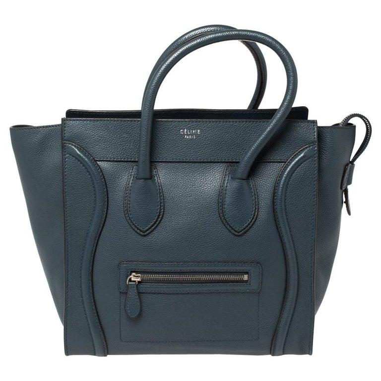 Céline Blue Leather Mini Luggage Tote For Sale