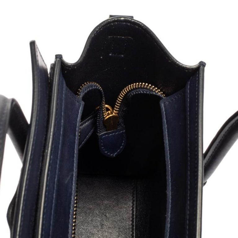Celine Blue Leather Nano Luggage Tote For Sale 11