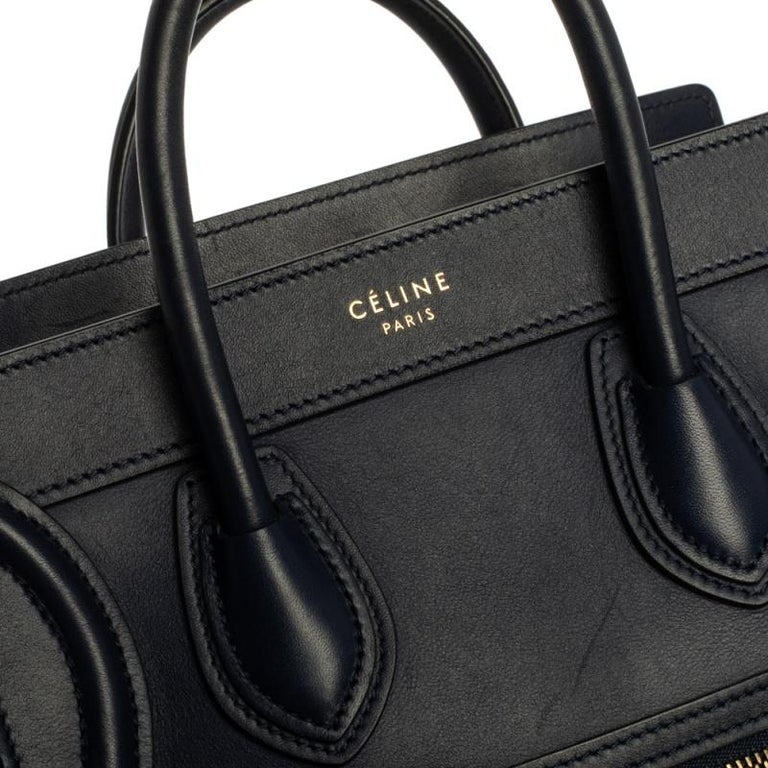 Celine Blue Leather Nano Luggage Tote For Sale 1