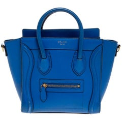 Celine Blue Leather Nano Luggage Tote