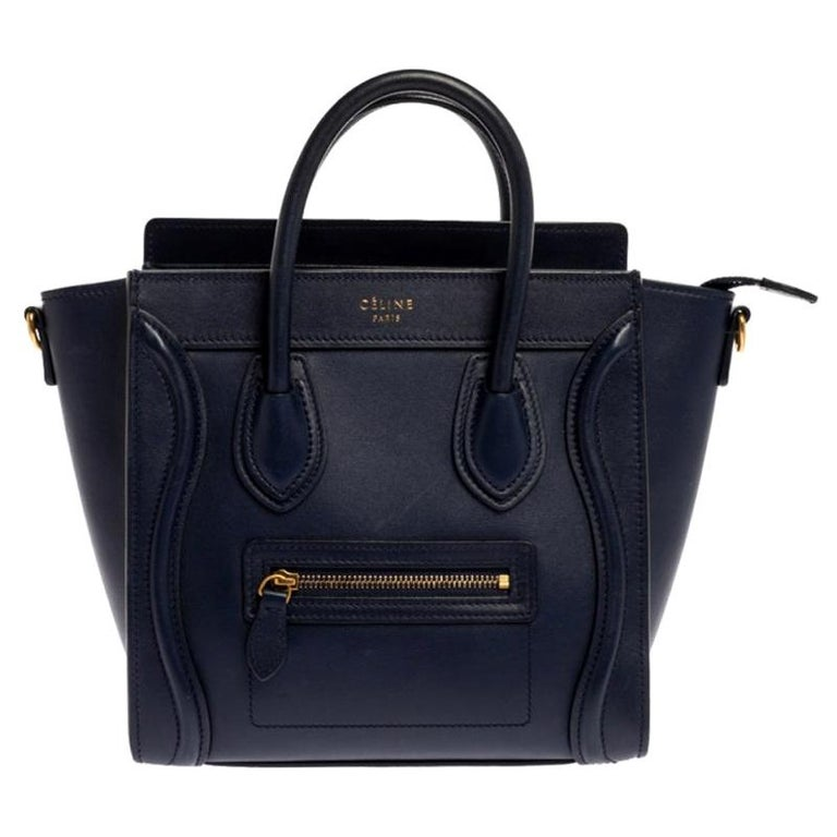 Celine Blue Leather Nano Luggage Tote For Sale