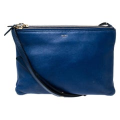 Celine Blue Leather Small Trio Crossbody Bag