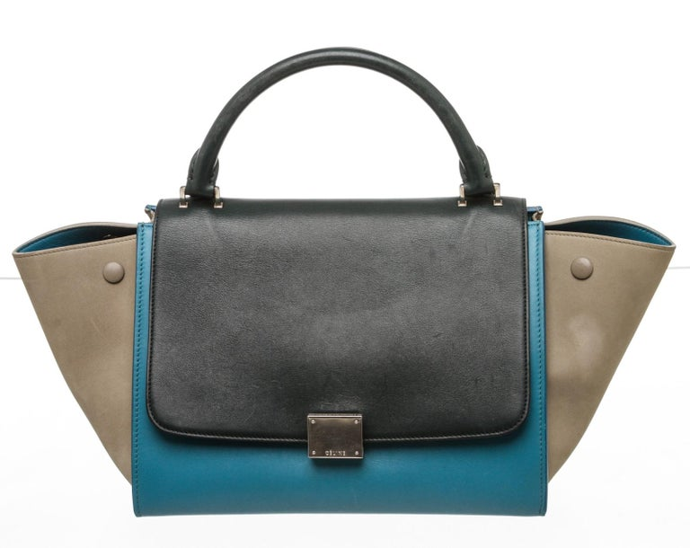 Celine Blue Leather Trapeze Two-Way Bag In Good Condition For Sale In Irvine, CA