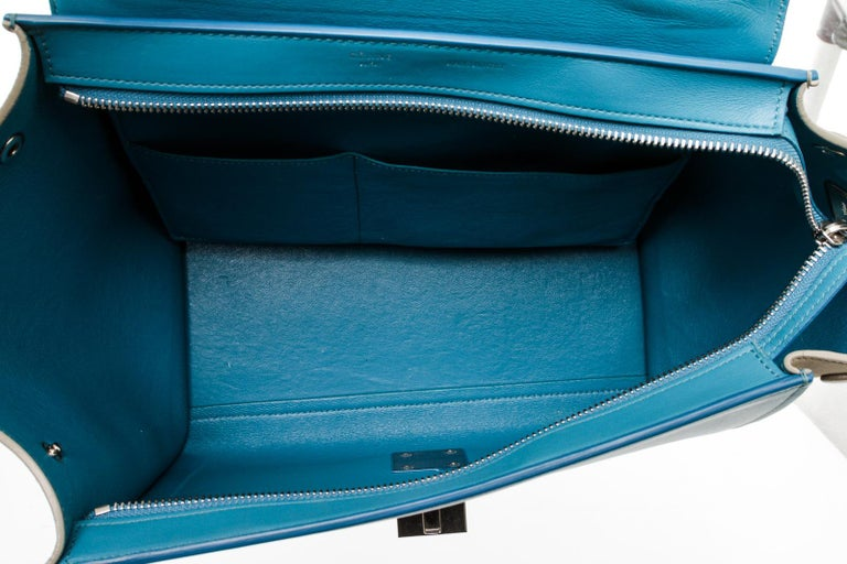 Women's or Men's Celine Blue Leather Trapeze Two-Way Bag For Sale