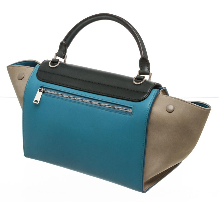 Celine Blue Leather Trapeze Two-Way Bag For Sale 1