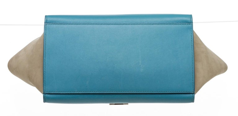 Celine Blue Leather Trapeze Two-Way Bag For Sale 2