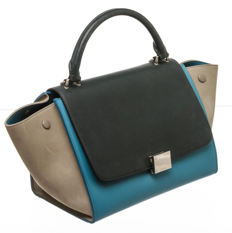 Celine Blue Leather Trapeze Two-Way Bag For Sale 3