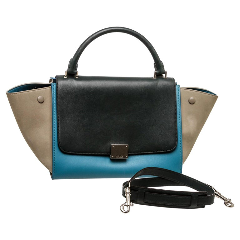 Celine Blue Leather Trapeze Two-Way Bag For Sale