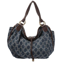 Celine Blue Macadam Denim and Leather Hobo