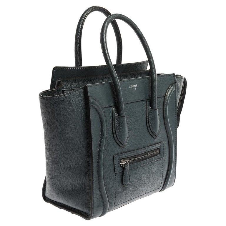 Celine Blue Smooth Leather Micro Luggage Tote In Good Condition For Sale In Dubai, Al Qouz 2