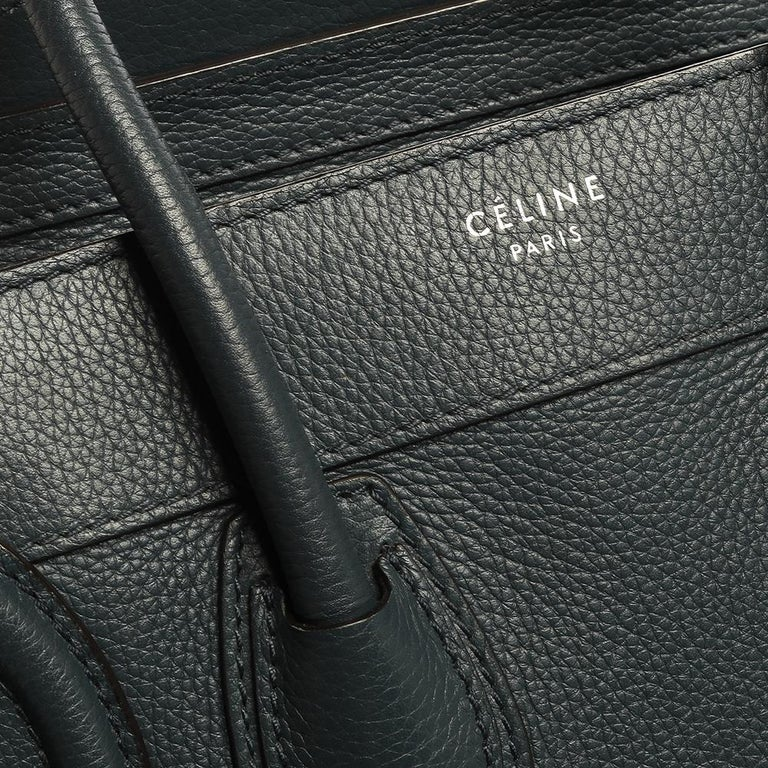Celine Blue Smooth Leather Micro Luggage Tote For Sale 2
