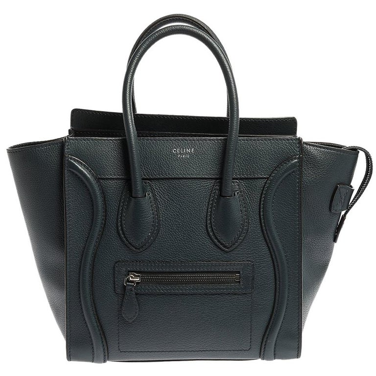 Celine Blue Smooth Leather Micro Luggage Tote For Sale