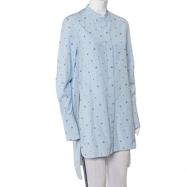 Celine Blue Striped Cotton Embroidered Asymmetric Hem Shirt Dress M In Good Condition For Sale In Dubai, Al Qouz 2