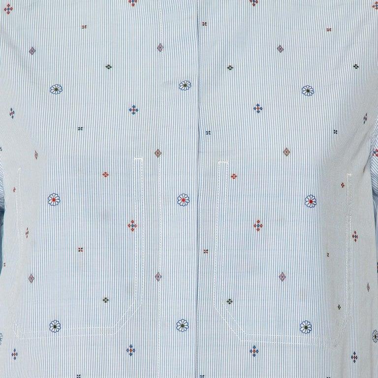 Celine Blue Striped Cotton Embroidered Asymmetric Hem Shirt Dress M For Sale 1