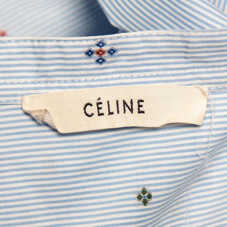 Celine Blue Striped Cotton Embroidered Asymmetric Hem Shirt Dress M For Sale 3