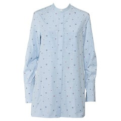 Celine Blue Striped Cotton Embroidered Asymmetric Hem Shirt Dress M