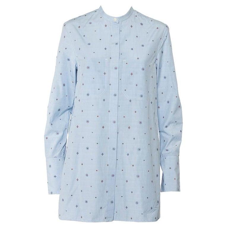 Celine Blue Striped Cotton Embroidered Asymmetric Hem Shirt Dress M For Sale