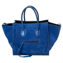 Celine Blue Suede Medium Phantom Luggage Tote