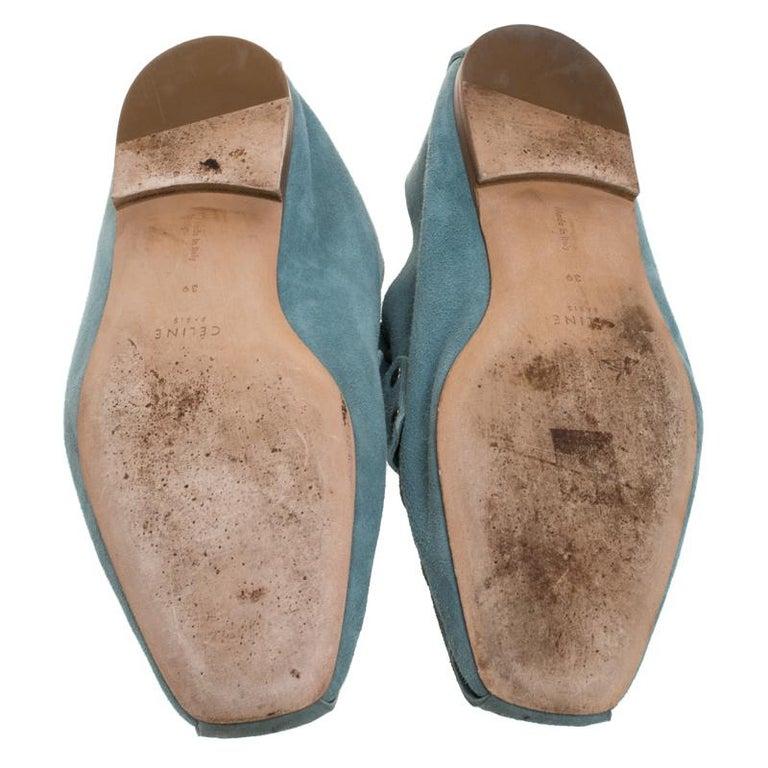 Women's Celine Blue Suede Studded Slip On Loafers Size 39 For Sale