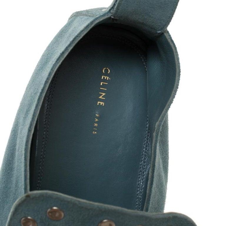 Celine Blue Suede Studded Slip On Loafers Size 39 For Sale 1