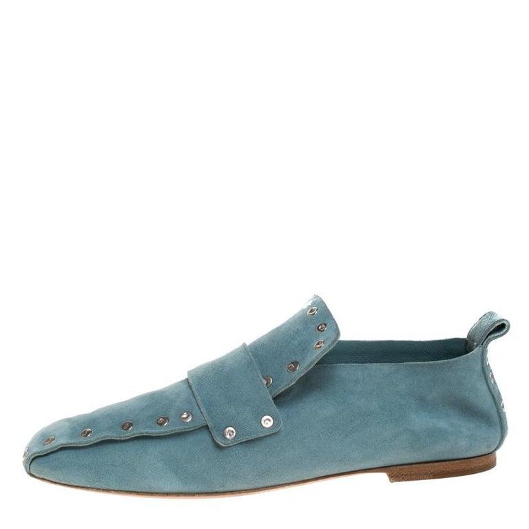 Celine Blue Suede Studded Slip On Loafers Size 39 For Sale 2