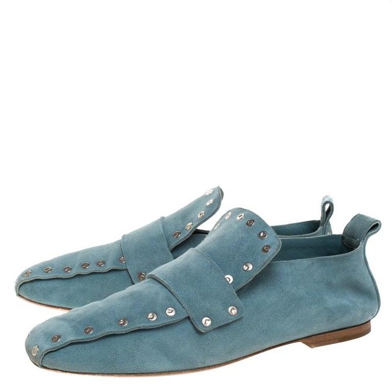 Celine Blue Suede Studded Slip On Loafers Size 39 For Sale 3