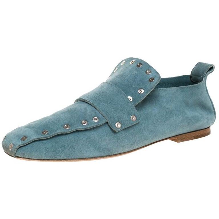 Celine Blue Suede Studded Slip On Loafers Size 39 For Sale